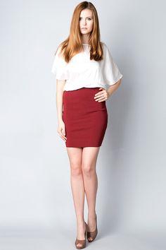 x Платье бордового цвета с белой блузой Silvian Heach