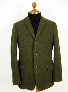 3a96aa122bb Custom tailored vintage 1960s green tweed jacket mens 40R