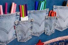 Feito com calças                                           Recorte as pernas da calça jeans na altura do cavalo (cerca de 10 cm ...