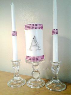 Unity Candle Set Fuchsia Bling Monogram Wedding by TheDeevaShop