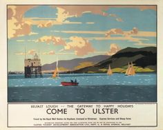 This travel poster was originally used by The Ulster Tourist and Development Association to promote tourism to Northern Ireland. The poster shows an image of the original pilot tower in Belfast Lough. In the background is Cavehill and Harland and Wolff shipyard (where the Titanic was built). The painter of the original poster was Norman Wilkinson who was made famous for his paintings for railway companies. The age of the original travel poster dates to 1934 approximately..17