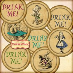 Alice in Wonderland circle cake topper, Drink Me topper decorations,  sepia style for pendants, magnets, scrapping, craft supply.