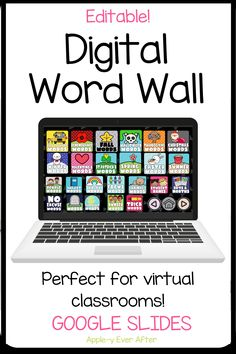 This Digital Word Wall was created to help you & your elementary students keep your word wall updated throughout the year without having to take up precious wall & bulletin board space! This Word Wall works with Google Slides to save time and money printing! It is editable, easy to use, and adapts to your students' needs. Includes lists for the alphabet, number words, focus words, animals, and seasons. Use it for CVC & sight words! Get it now in the Apple-y Ever After TPT Store!