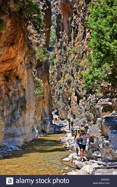 Portes the narrowest passage of Samaria Gorge close to Agia Roumeli village S Beautiful Islands, Homeland, Trekking, Scenery, Crete Greece, Stock Photos, Explore, Landscape, Travel Destinations