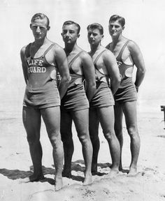 Chicago lifeguards in 1933.  I remember my dad telling me the story when he was applying for the job of lifeguard.  He didn't meet the weight requirement so his mom filled his pants with sand so he would weigh more!