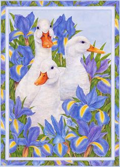 Garden Duck Trio Art of Anne Mortimer