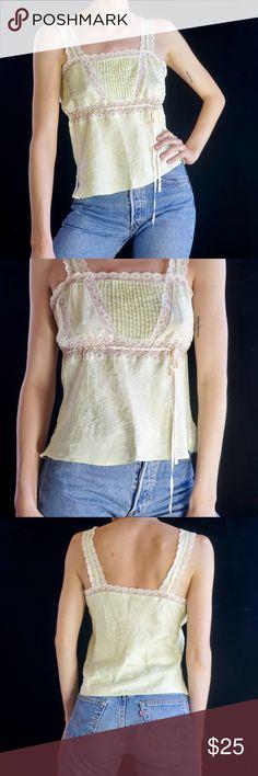 72b4e3fa818 Silk & lace tank top Pale mint green silk babydoll tank top with white lace.