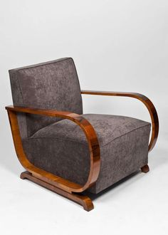 Austrian Art Deco Period Burled Walnut Armchairs