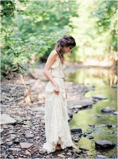 bride at creek in birmingham by brushfire photography
