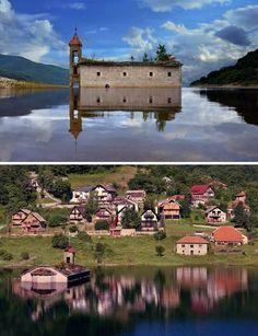8 lugares incríveis que emergiram da água A Igreja de São Nicolau foi submersa em um lago artificial