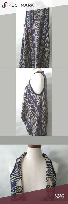 """New Blu Pepper Medium Cascade Open Cardigan Vest Blu Pepper Women Cascade Drape Open Cardigan Vest REVERSIBLE Size Medium Cream Navy Aztec Langenlook  Length(from back of the neck to hem): 50""""  Condition: New with Tags Blu Pepper Sweaters Cardigans"""