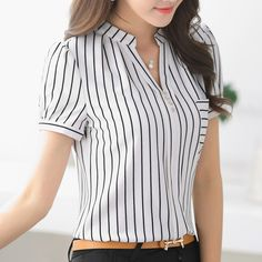 2016 Summer fashion stripe shirt female V-neck short-sleeve chiffon women blouse office formal Business plus size work wear tops Top Chic, Dress Picture, Short Tops, Corsage, Blouse Designs, Blouses For Women, Blue Dresses, Work Wear, Ideias Fashion