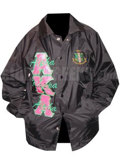 BLACK ALPHA KAPPA ALPHA LINE JACKET WITH HOT PINK AND GREEN LETTERS PLUS CREST  Item Id: PRE-XJ-AKAHOTPNK-BLK    Retail Price: $109.00  You Save: $10.00  Price: $109.00  Your Price: $99.00