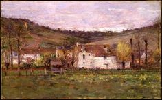 A French Hamlet - Theodore Robinson, American, ca. Brooklyn museum of Art, New York. Impressionist Landscape, Landscape Paintings, Landscapes, Theodore Robinson, A4 Poster, Poster Prints, Modern Art Styles, American Impressionism, Brooklyn Museum Of Art