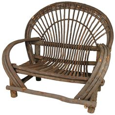 This rustic bent twig loveseat is perfect for a mountain lodge, cabin porch or southwest patio. Hand crafted Mexican bent twig outdoor furniture is durable and functional. Complete sets of 2 chairs, loveseat and side table are available at Direct From Mexico.
