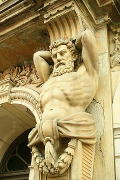 In architecture telamons are colossal male figures used as columns. These are also called atlas, atlantes or atlantids; they are the male versions of caryatids. Located at Wayne County Ohio Courthouse. Architectural Sculpture, Architectural Elements, Stone Statues, Second Empire, Arte Pop, Male Figure, Architecture Details, Neoclassical Architecture, Creative Architecture