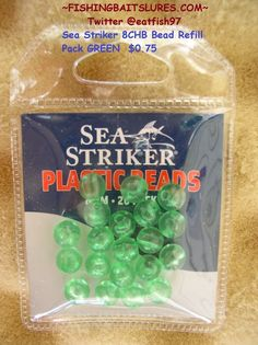 SEA STRIKER 8CHB PLASTIC BEADS 8 mm 20 PACK GREEN http://fishingbaitslures.com/products/sea-striker-8chb-plastic-beads-8-mm-20-pack-green
