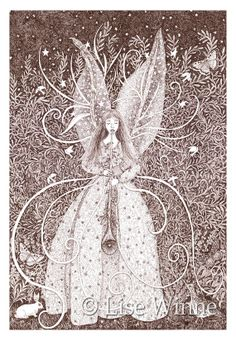 Angel Bliss, fairy-like angel with trumpet and rabbit, Renaissance woodland inspired, 3 cards by LiseWinne, $9.00