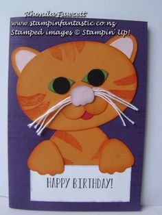 cat using stampin up layering ovals and blossom builder punch