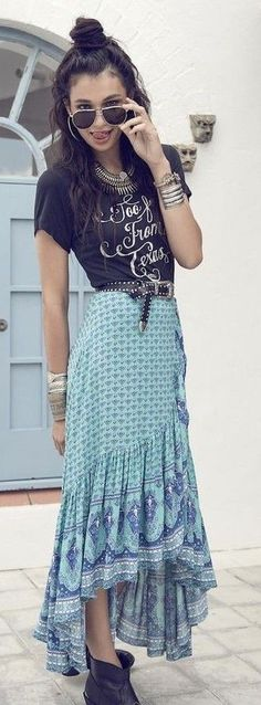Black Graphic Tee + Boho Maxi Skirt                                                                             Source