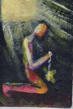 """LIGHT""  Acrylic original  ,ACEO  jack larson 3.5""x2.5"" #Abstract"