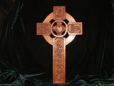 Mahogany Hand Carved Celtic Cross with Claddagh