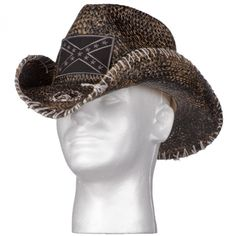 """Custom, hand painted, hand shaped, hand distressed, hand stitched, and hand embellished with custom Wornstar patch and metal skull. Rocker inspired painted straw cowboy hat. The fit is """"one-size-fits-most"""" with stretch rim."""