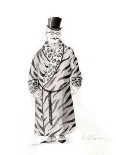 Preliminary sketch of a male chorus member in the Canadian Opera Company production of Die Fledermaus, 2012. Design by Constance Hoffman.