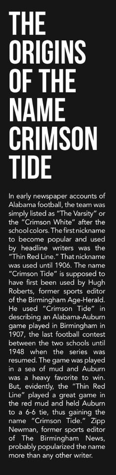 The Origins of the Name CRIMSON TIDE - from the Alabama Football 2017 Media Guide - issuu #Alabama #RollTide #Bama #BuiltByBama #RTR #CrimsonTide #RammerJammer #Alabama2017MediaGuide