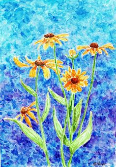 Artist Adron: Garden Watercolor: Gloryosia Daisies . This print is for sale at my society6 store: https://society6.com/artistadron
