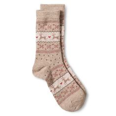 Women's Crew Socks - Oatmeal Heather Fairisle Reindeer