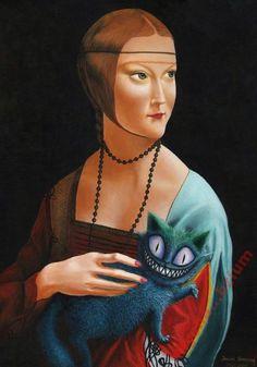 Dama z Kociczką Akryl na płótnie o wymiarach 50x70