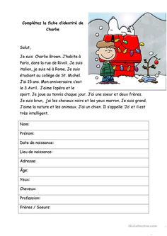 Charlie Brown reading passage with reading comprehension questions French Basics, French For Beginners, French Flashcards, French Worksheets, Read In French, Learn French, French Language Lessons, French Lessons, French Teaching Resources