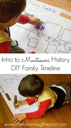 ntro to Montessori History. Use a timeline to teach history of event or of your family. This easy project encourages early reading, writing and comprehension skills while introducing the concept of history. Montessori Elementary, Montessori Education, Montessori Classroom, Montessori Toddler, Montessori Kindergarten, Play Based Learning, Kids Learning Activities, Montessori Activities, Teaching Kids