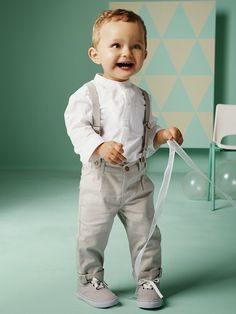 The outfit Baby Boy's Shirt & Trousers Outfit + Boy's Low Ankle Trainers - Baby Boy Baptism Outfit, Christening Outfit, Baby Baptism, Suspenders Outfit, Baby Set, Baby Baby, Boys Shirt And Trousers, Khaki Pants, Baby Boy Fashion