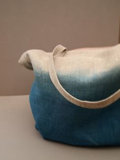 indigo dip dyed linen bag