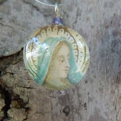 Vintage Holy Card Virgin Mary Pendant Necklace