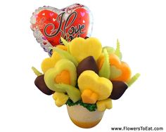 Valentine's Day bouquet for your sweetheart. Belgium chocolate covered berries with healthy fruit!
