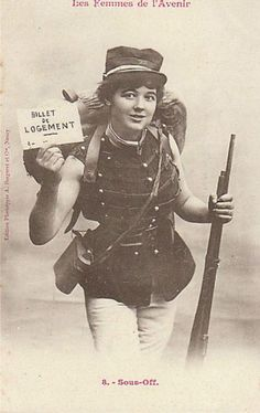 A sergeant - Vintage Trading Cards Depicting Costumed Professions for Women in the Future