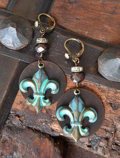 Verdigris fleur de lis brass and rhinestone earrings by Purrrls,