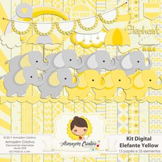 kit digital elefante yellow- Armazém Criativo
