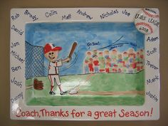 coach gift baseball by Pottery Piazza Baseball Coach Gifts, Baseball Crafts, Pottery Painting, Ceramic Painting, Painted Ceramics, School Auction Projects, Thumb Prints, Great Teacher Gifts, Cheer Mom