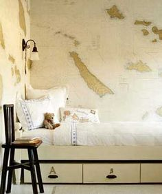 Map wallpaper--cool idea for a child's room but I'd love to do this to an accent wall in another room, maybe library or living design World Map Wallpaper, Of Wallpaper, Nautical Wallpaper, Office Wallpaper, Wallpaper Ideas, Up House, Kid Spaces, Living Spaces, Boy Room