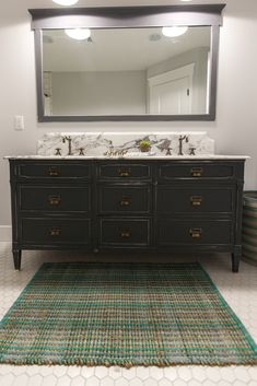 Dresser repurposed as bath vanity. Hardware by House of Antique Hardware - as featured on 'Rafterhouse' pilot show on HGTV.