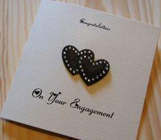 Handmade Personalised Card - Engagement - Black Hearts