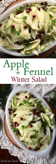 This apple fennel winter salad is a refreshing dish to add to the holiday dinner table. Or a great side to balance out your dinner plate any night of the week. Granny smith apples and fennel are two ingredients I pretty much have on hand at all times in t Fennel And Apple Salad, Green Apple Salad, Fennel Salad, Apple Salad Recipes, Fennel Recipes, Whole Food Recipes, Cooking Recipes, Winter Salad Recipes, Cooking Gadgets