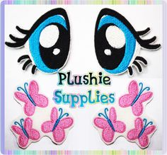 Detailing Supplies for Fluttershy MLP Plush [Machine Embroidered Patches of the Eyes and Cutie Marks] by SoapyBacon on Etsy.com
