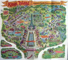 Vintage '70s map of Kings Island Amusement Park, near Cincinnati. Greatest day trip ever for a Midwestern kid or teen. Mercifully, I left Ohio before Paramount bought it and rebranded everything into oblivion.