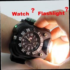 Outdoor Waterproof Compass Led Watch Lamp Night Running Hiking Camping Built-in Battery Recharge Wristwatch Flashlight Complete Range Of Articles Security & Protection