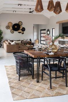 Open plan dining living area African safari inspired Safari Living Rooms, Decor Home Living Room, Interior Design Living Room, African Interior Design, Loft Interior Design, African Living Rooms, Safari Home Decor, African Home Decor, Lounge Decor